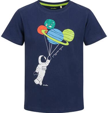 Endo - T-shirt z krótkim rękawem dla chłopca, z planetami, granatowy, 2-8 lat C03G107_1 14