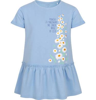 Endo - Tunika z krótkim rękawem dla dziewczynki, w stokrotki, niebieska, 9-13 lat D05T006_1 12