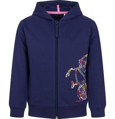 Rozpinana bluza z kapturem dla dziewczynki, kolorowy rower, granatowa, 2-8 lat D03C010_1