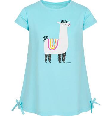 Tunika z krótkim rękawem dla dziewczynki, motyw z lamą, z kokardkami po bokach, niebieska, 2-8 lat D05T011_1