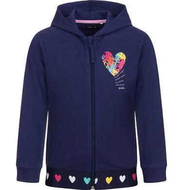 Rozpinana bluza z kapturem dla dziewczynki, z motywem serca, granatowa, 2-8 lat D03C011_1